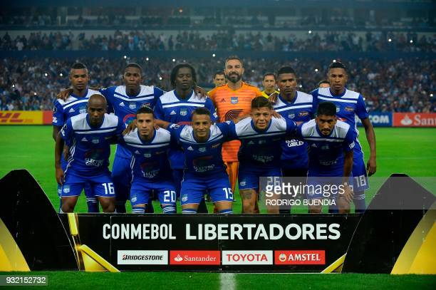 Ecuador´s Emelec players pose before their Copa Libertadores 2018 football match at George Capwell stadium in Guayaquil Ecuador on March 14 2018 /...