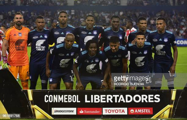 Ecuador´s Emelec players pose before their Copa Libertadores football match at George Capwell stadium in Guayaquil Ecuador on May 23 2018