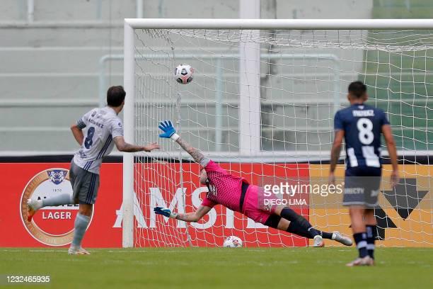 Ecuador's Emelec Uruguayan Sebastian Rodriguez scores a penalty kick during the Copa Sudamericana football tournament group stage match between...