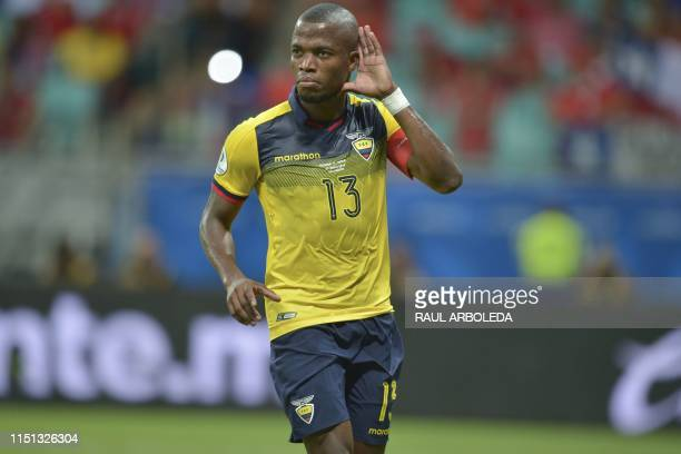 Ecuador's Enner Valencia celebrates after scoring a penalty against Chile during their Copa America football tournament group match at the Fonte Nova...