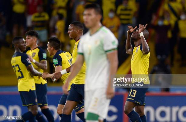 Ecuador's Enner Valencia celebrates after scoring against Bolivia during the South American qualification football match for the FIFA World Cup Qatar...