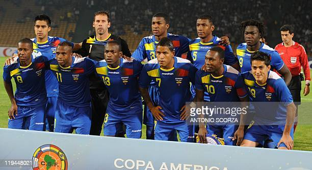 Ecuador's football team poses before their 2011 Copa America Group B first round football match against Brazil at the Mario Kempes stadium in Cordoba...