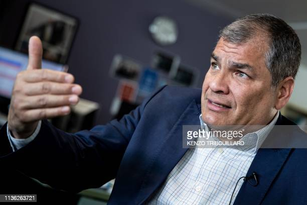 Ecuador's former President Rafael Correa gestures during an interview with Agence FrancePresse in Brussels on April 11 2019 after WikiLeaks founder...