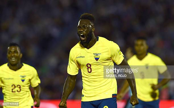 Ecuador's forward Felipe Caicedo celebrates after scoring against Uruguay during their FIFA 2018 World Cup qualifier football match in Montevideo on...