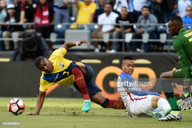 Ecuador's Frickson Erazo USA's Bobby Wood and Ecuador's Alexander Dominguez vie for the ball during the Copa America Centenario football tournament...