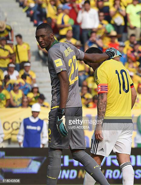 Ecuador's goalkeeper Alexander Dominguez and Colombia's James Rodriguez are pictured during their Russia 2018 FIFA World Cup South American...