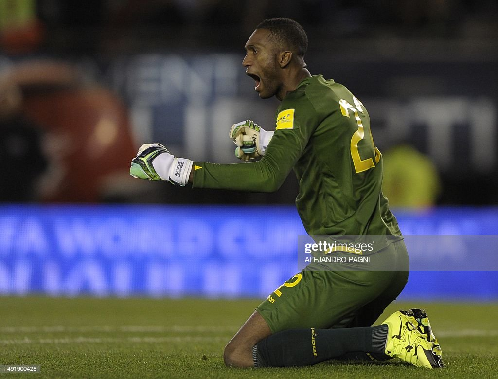 Ecuador's goalkeeper Alexander Dominguez celebrates during their Russia 2018 FIFA World Cup qualifiers match against Argentina, at the Monumental stadium in Buenos Aires, on October 8, 2015.