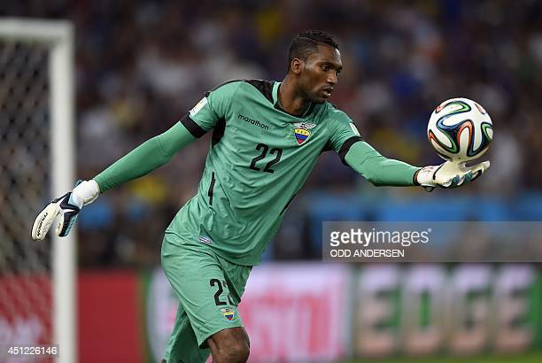 Ecuador's goalkeeper Alexander Dominguez clears the ball during the Group E football match between Ecuador and France at the Maracana Stadium in Rio...