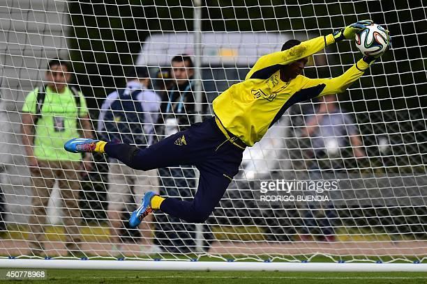 Ecuador's goalkeeper Alexander Dominguez dives during a training session at the Vila Ventura Resort in Viamao on June 17 ahead of the 2014 FIFA World...