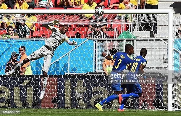 Ecuador's goalkeeper Alexander Dominguez jumps to save a goal during a Group E football match between Switzerland and Ecuador at the Mane Garrincha...