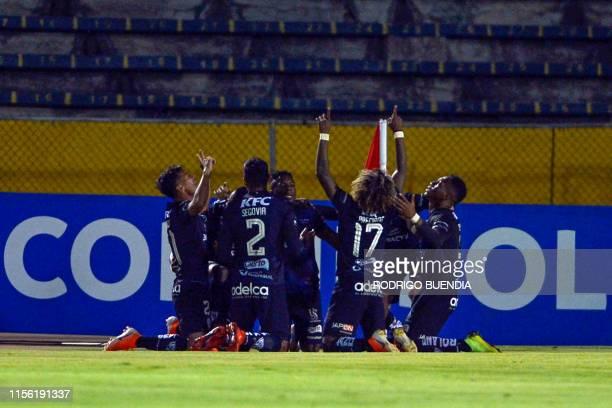 Ecuador's Independiente del Valle Alan Franco celebrates with teammate after scoring during a Copa Sudamericana football match between Ecuador's...