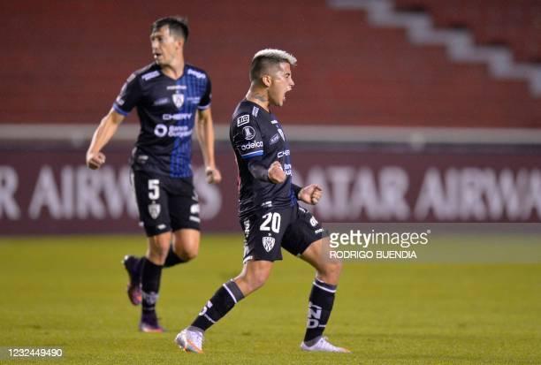 Ecuador's Independiente del Valle Argentine Cristian Ortiz celebrates a goal during the Copa Libertadores football tournament group stage match...