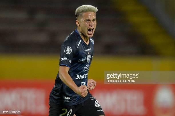 Ecuador's Independiente del Valle player Cristian Ortiz celebrates after scoring against Ecuador's Barcelona during their closed-door Copa...