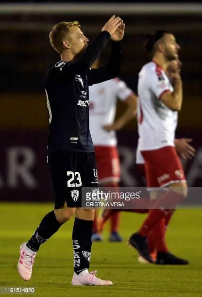 Ecuador's Independiente del Valle player Daniel Nieto celebrates after scoring against Argentina's Independiente during their Copa Sudamericana 2019...