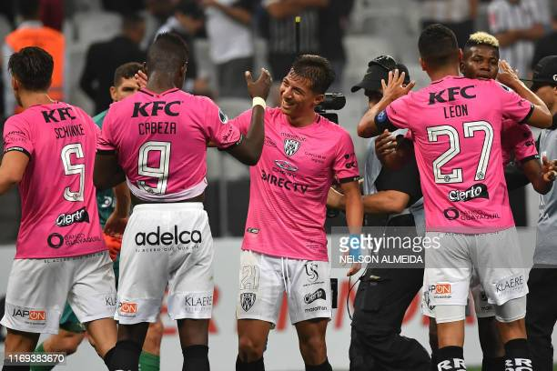 Ecuador's Independiente del Valle team players celebrate after the 2019 Copa Sudamericana semifinal first leg football match against Brazil's...