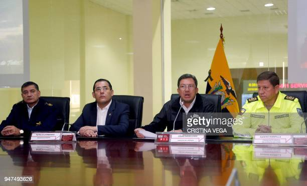 Ecuador's Interior Minister Cesar Navas accompanied by the Chief of the Joint Command of the Armed Forces Cesar Merizalde Defence Minister Patricio...
