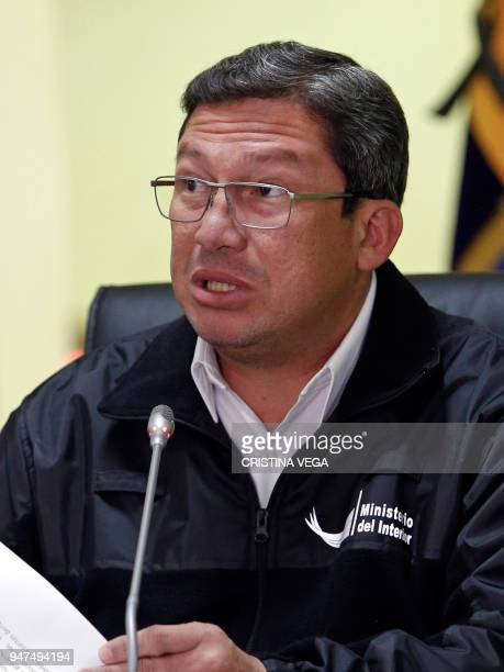 Ecuador's Interior Minister Cesar Navas confirms the kidnapping of two people in the border with Colombia during a press conference in Quito on April...