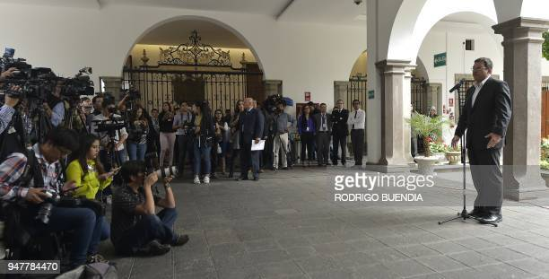 Ecuador's Interior Minister Cesar Navas speaks to the press on the recent kidnappings in the EcuadorColombia border at the Carondelet presidential...