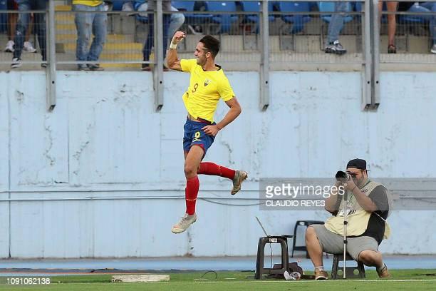 Ecuador's Leonardo Campana celebrates after scoring against Argentina during their South American U20 football match at El Teniente stadium in...