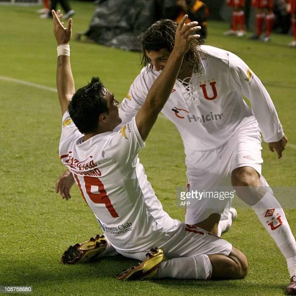 Ecuador's Liga de Quito Juan Salgueiro celebrates after scoring against Chile's Union San Felipe during their Copa Sudamericana soccer match at the...