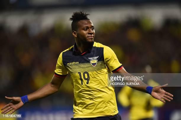 Ecuador's Michael Estrada celebrates his goal against Bolivia during the international friendly football match at Alejandro Serrano Aguilar stadium...
