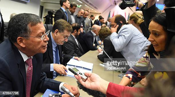 Ecuador's minister of hydrocarbons Pedro MerizaldePavon speaks to journalists during the 167th ordinary meeting of OPEC at OPEC's headquarters in...