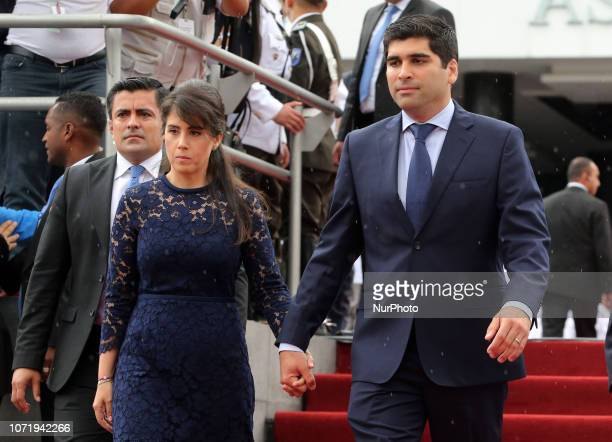 Ecuador's new Vice President Otto Sonnenholzner leaves the Congress in Quito accompanied by his wife Claudia Salem after being elected to the post on...