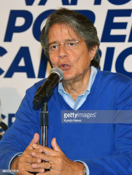 Ecuador's opposition presidential candidate Guillermo Lasso speaks at a press conference in Quito on April 3 2017 Lasso reiterated that he will...