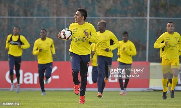 Ecuador's player Angel Mena takes part in a training session in Quito on November 10 2015 Ecuador will face Uruguay on November 12 in a FIFA World...