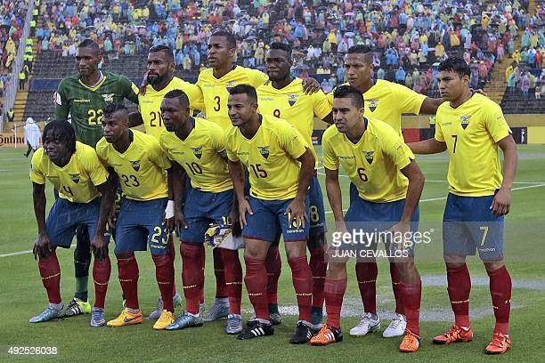 Ecuador's players pose for pictures before the start of their Russia 2018 FIFA World Cup South American Qualifiers football match against Bolivia at...