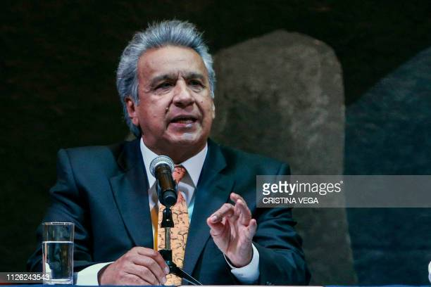 Ecuador's President Lenin Moreno speaks during the signing ceremony of the Chapultepec Declaration a decalogue of principles on freedom of expression...