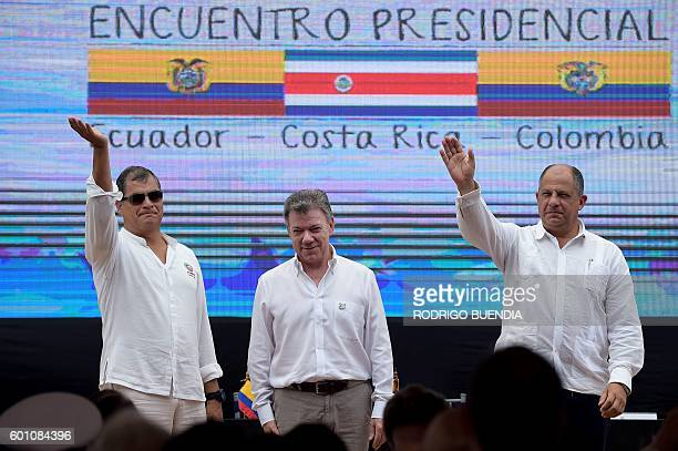 Ecuador's president Rafael Correa and his counterparts Juan Manuel Santos of Colombia and Luis Guillermo Solis of Costa Rica are pictured before...