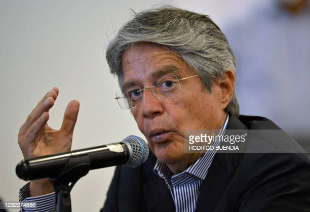 Ecuador's President-elect Guillermo Lasso speaks during a press conference with the foreign presss at a hotel in Quito on April 12 a day after the...