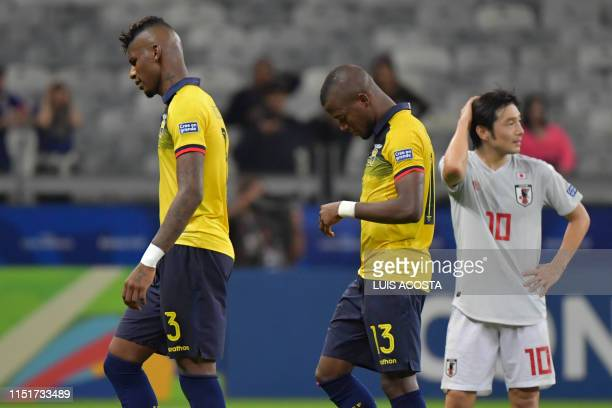 Ecuador's Robert Arboleda and Enner Valencia and Japan's Shoya Nakajima are pictured after being knocked out of the Copa America football tournament...