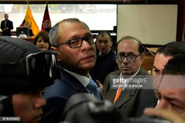 Ecuador's vice president Jorge Glas arrives in court on November 24 2017 in Quito Ecuador Glas was indicted for unlawful association in the giant...