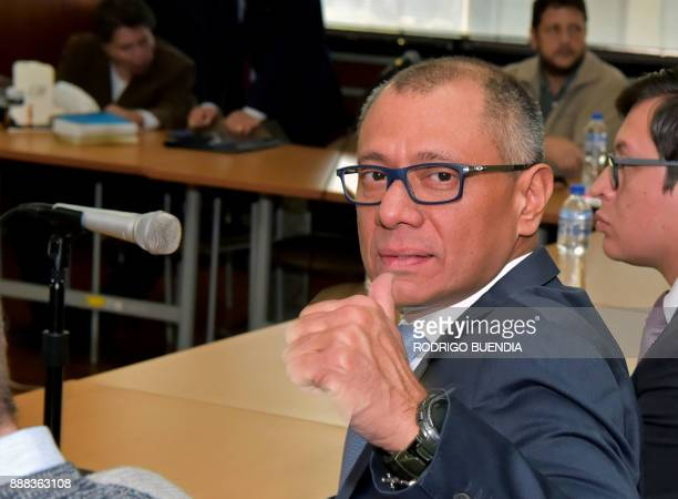 Ecuador's vice president Jorge Glas gives his thumb up before the start of his hearing at the court in Quito on December 8 2017 Ecuadorean...