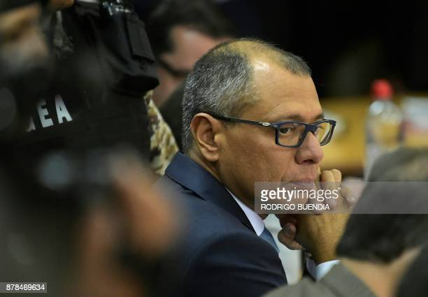 Ecuador's vice president Jorge Glas is seen upon his arrival in court on November 24 2017 in Quito Ecuador Glas was indicted for unlawful association...