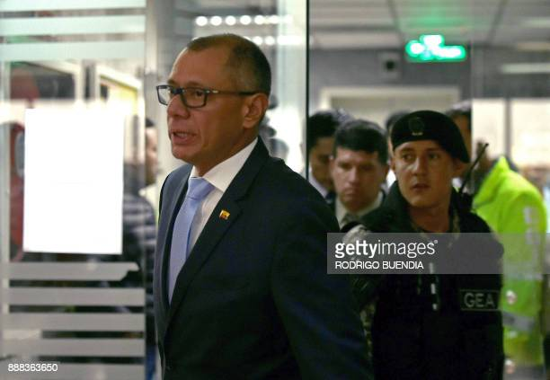 Ecuador's vice president Jorge Glas is seen upon his arrival in court on December 8 2017 in Quito Ecuadorean AttorneyGeneral Carlos Vaca asked for...