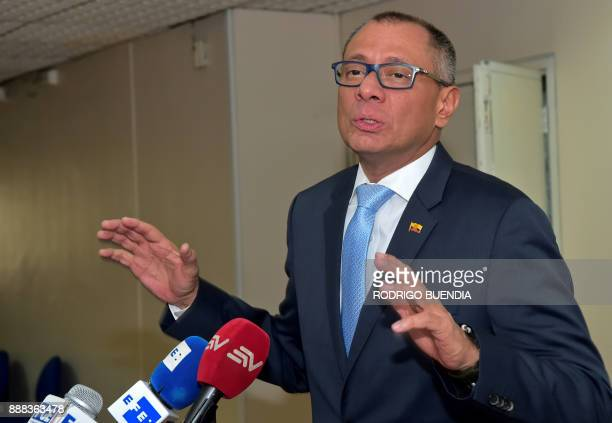 Ecuador's vice president Jorge Glas talks to the press before entering a hearing at the court In Quito on December 8 2017 Ecuadorean AttorneyGeneral...