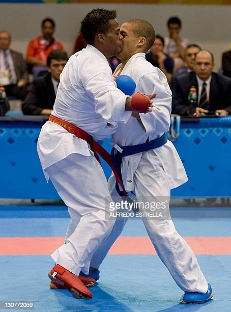 Ecuatorian Daniel Vivero and Cuban Dennis Novo fight during the karate finals on men´s under 67kg in the XVI Pan-American Games in Guadalajara,...