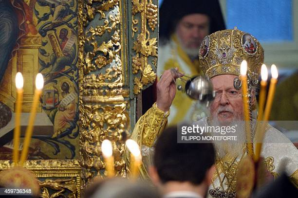 Ecumenical Patriarch Bartholomew I of Constantinople leads the Divine Liturgy at the St George church the principal Greek Orthodox cathedral during...