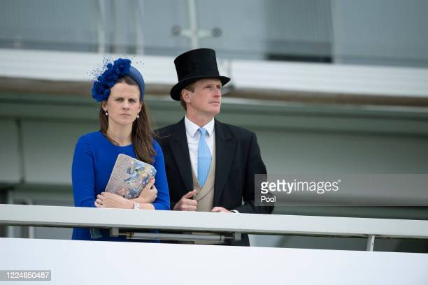 Ed and Camilla Walker at Epsom Racecourse on July 04, 2020 in Epsom, England. The famous race meeting will be held behind closed doors for the first...