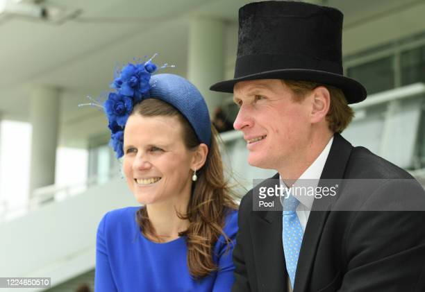 Ed and wife Camilla Walker in the stands at Epsom Racecourse on July 04, 2020 in Epsom, England. The famous race meeting will be held behind closed...