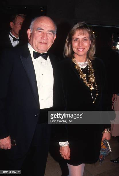 Ed Asner and Cindy Gilmore attend Cinematographer Awards Gala at the Beverly Hilton Hotel in Beverly Hills, California on February 23, 1992.