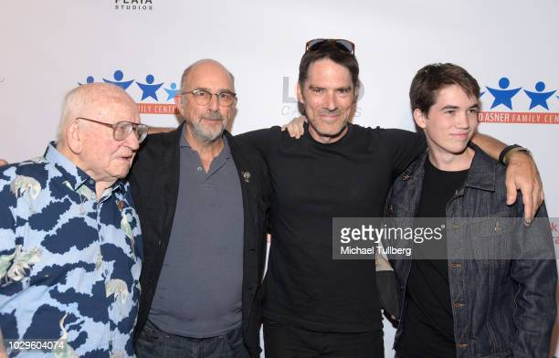 Ed Asner Richard Schiff Thomas Gibson and Travis Carter Gibson attend the 6th Annual Ed Asner and Friends Poker Tournament Celebrity Night at Playa...