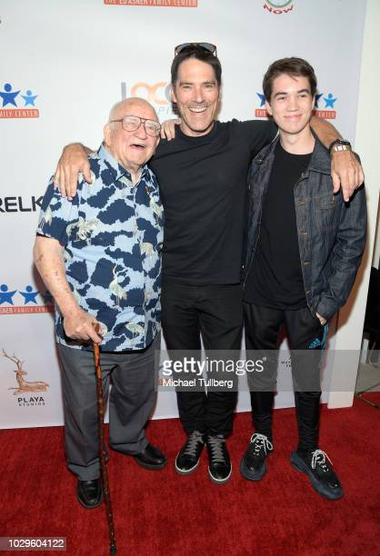 Ed Asner Thomas Gibson and Travis Carter Gibson attend the 6th Annual Ed Asner and Friends Poker Tournament Celebrity Night at Playa Studios on...