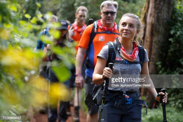 Ed Balls and Dani Dyer arrive in camp on day 1 of 'Kilimanjaro The Return' for Red Nose Day on February 23 2019 in Arusha Tanzania all to raise funds...