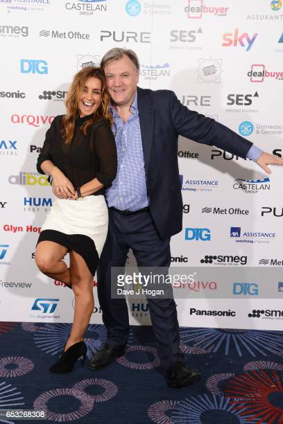 Ed Balls and Louise Redknapp pose in the winners room at the TRIC Awards 2017 at The Grosvenor House Hotel on March 14 2017 in London England