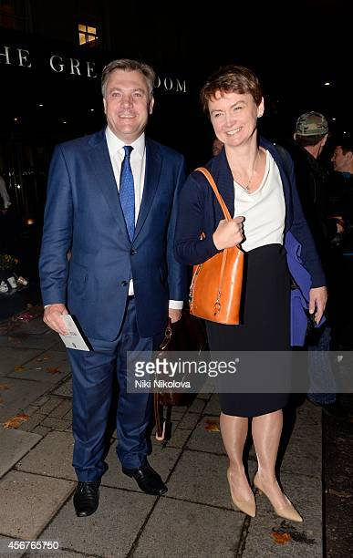 Ed Balls is seen leaving the Grosvenor hotel Park Lane on October 6 2014 in London England