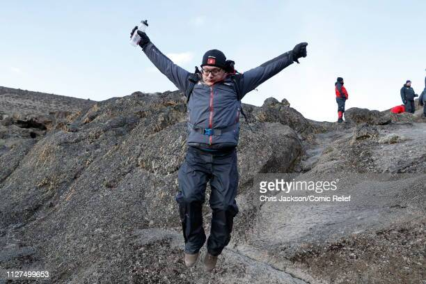 Ed Balls jumps in the air during day 3 of 'Kilimanjaro The Return' for Red Nose Day on February 25 2019 in Arusha Tanzania All to raise funds for...